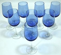 Cobalt/Royal Blue, Clear Stem, Two-Tone Wine Glasses - Set of 8 from Greenbrier International, Inc.