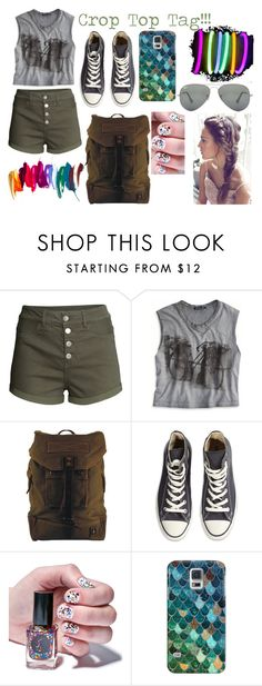 """""""Crop Top Tag!!!"""" by kristinberchak ❤ liked on Polyvore featuring beauty, H&M, American Eagle Outfitters, DamnDog, Converse, Cirque Colors, Samsung, Casetify and Ray-Ban"""