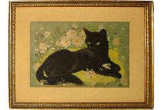 Pastel on board of black cat with green eyes. Illegibly signed lower right. Sell Items, Green Eyes, Illustrations, Cats, Painting, Animals, Black, Gatos, Animales