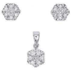 10K White Gold Diamond Hexagon Shape Earring Studs & Pendant Charm Set 1/4 CTW.