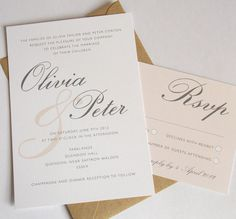 Printable Wedding Invitation Set - Vintage Style - Olivia in Buff