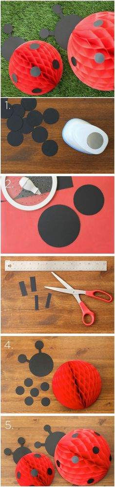 "Materials: 1½"" circle punch Circle cutter Scissors Black construction paper 12″ red honeycomb balls 8″ red honeycomb balls Hot glue gun More info and instructions about this great tutorial you can find in the source url - above the photo. diyfuntips.com is a collection of the best and most creative do it yourself projects, tips […]"