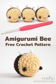 Crochet your own mini bumble bee with this free amigurumi pattern and tutorial. A quick and easy project, this crochet pattern is great for beginners. Use your finished bees as cute decorations or gifts, or sew a keychain on top Crochet Pattern Free, Crochet Bee, Crochet Animal Patterns, Cute Crochet, Crochet Crafts, Crochet Toys, Crochet Pumpkin, Crochet Birds, Crochet World