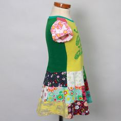 Size 2T up to 4T yrs girls upcycled tshirt dress by dressme, $45,00