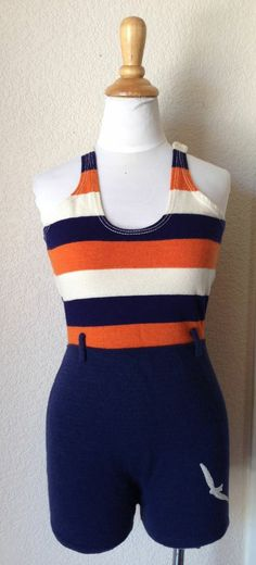 1930s STRIPED WOOL SWIMSUIT ! SO COOL!