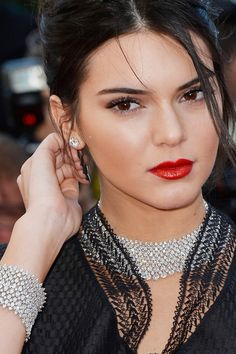 The Cannes Film Festival Jewellery Directory | Kendall Jenner attended the premiere of Youth wearing jewellery by Chopard - a 122-carats white diamond necklace and white diamond stud earrings with a 78-carat white diamond bracelet. #Cannes2015