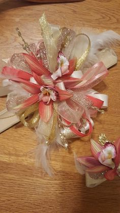Coral and pink homecoming corsage set from Hen House Designs www.henhousedesigns.net