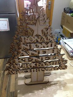 laser cut christmas tree 4 names - Engraved and Signed