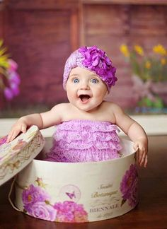 Infant Tiny Turban Hat in Lavender with Purple Geranium Accents