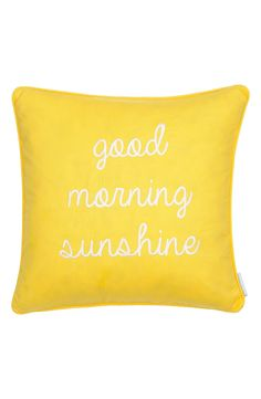 This cheery accent pillow in bright yellow is sure to standout in the living room and bring a smile to the face.