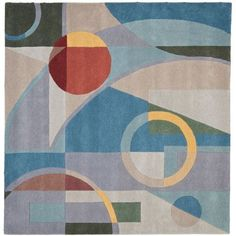 Rodeo Drive Blue and Multi Square: 6 Ft. In. x 6 Ft. In. Area Rug