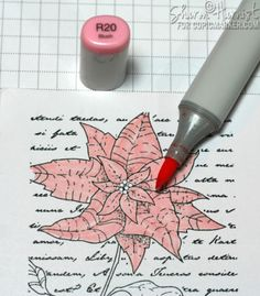 Red Poinsettia Copic Marker Tutorial by Sharon Harnist