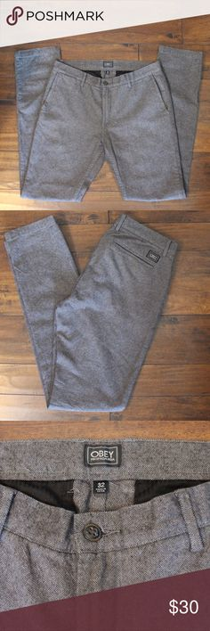 "EUC Obey Men's Pants Like new! Obey cotton pants that resemble tweed. Two front and back pockets. Size 32. Measurements with pants laying flat: length 34"" & waist 32"". Obey Pants"