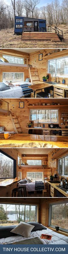 Tiny House Collectiv: The Penner Cabin in Sydenham, ON Tiny Cabins, Tiny House Cabin, Tiny House Living, Tiny House Plans, Cabin Design, Tiny House Design, Home Design, Ideas De Cabina, Deck Stairs