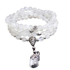 6mm 108 Natural Moonstone Beads Buddhist Prayer Mala Necklace Bracelet *** Check this awesome product by going to the link at the image.
