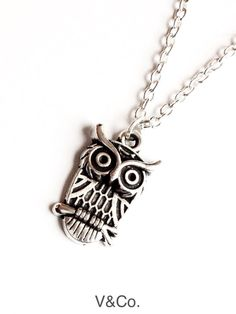 Owl Necklace Whimsical Necklace Lucky Charm by VelazioAndCo