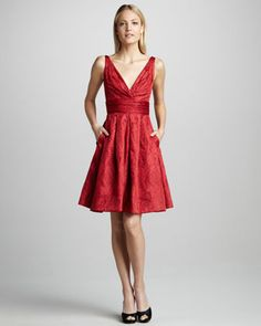 Theia Fit-and-Flare Brocade Cocktail Dress - Neiman Marcus. Beautiful!!!! :D :D :D