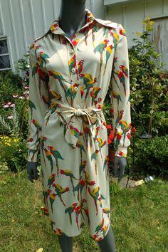 Vintage 70s  Dress 1970s parrot bird  long by 3GenerationCuration, $50.00