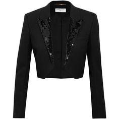 Saint Laurent Cropped sequin-embellished wool-crepe blazer (5.190 BRL) ❤ liked on Polyvore featuring outerwear, jackets, blazers, saint laurent, black, sequin blazers, wool jacket, lapel jacket, sequin crop jacket and blazer jacket