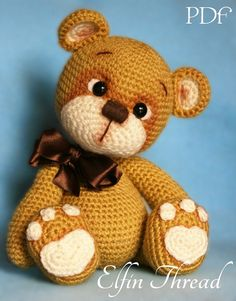 Elfin Thread  Teddy Bear Amigurumi PDF Pattern  Bear crochet