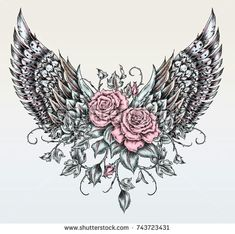 Bull Skull Roses On Her Head Stock Vector (Royalty free) 529046215 - wings drawing in tattoo style - Tummy Tattoo, Scar Tattoo, Stomach Tattoos, Mom Tattoos, Cute Tattoos, Beautiful Tattoos, Body Art Tattoos, Tattoo Wings, Lower Belly Tattoos