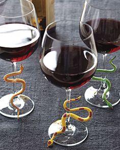 Snake wine glass charms