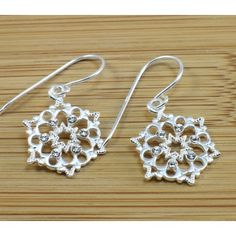 Filigree Hexagon Shape Silver Dangling #Earrings with Cubic Zirconia in Just $9.99 With Free shipping and 14 Days return.