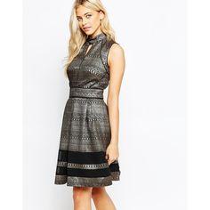 Oasis Metallic Pattern Skater Dress (1,780 DOP) ❤ liked on Polyvore featuring dresses, multi, metallic skater dress, fit and flare dress, mixed print dress, zipper dress and keyhole dress