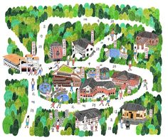 Go to 良 根' map by 良 根. Map Painting, Painting Prints, Village Map, Map Projects, Art Carte, Map Pictures, Tourist Map, Arts Integration, Fantasy Paintings
