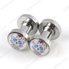 3Sizes Gauge Stainless Steel Skull head Barbells Ear Plug Stretcher