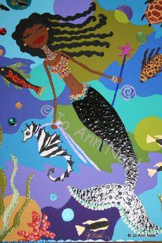 """Nubian Mermaid"" by Jo Ann Neal Mermaid Images, Mermaid Pictures, Mermaid Cove, Mermaid Art, Black Mermaid, Mermaids And Mermen, Merfolk, Black Women Art, Beauty Art"