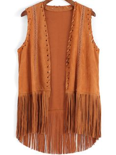 SheIn offers Khaki Tassel Dip Hem Vest & more to fit your fashionable needs. Casual Hijab Outfit, Boho Outfits, Fashion Outfits, Jacket Style Kurti, Fringe Vest, Jackets For Women, Clothes For Women, Steampunk Clothing, Leather And Lace