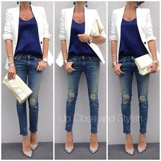white blazer, blue top, jeans and white heels