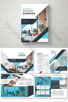 Simple green fashion home interior decoration pictures Graphic Design Brochure, Corporate Brochure Design, Brochure Layout, Graphic Design Tips, Web Design, Template Brochure, Brochure Cover Design, Magazine Layout Design, Book Design Layout