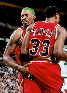 Chicago Bulls Scottie Pippen with Dennis Rodman,1995-1996