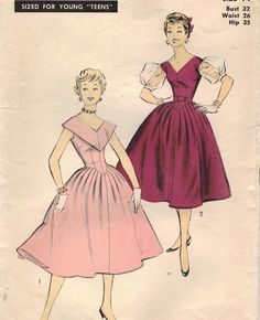 1950s Advance 7078 Vintage Sewing Pattern Teen Girl's Formal Dress Size 14 Bust 32