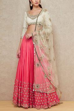 Buy Pink And White Color Mirror Work Lehenga by Akanksha Singh at Fresh Look Fashion Raw Silk Lehenga, Half Saree Lehenga, Lehenga Style, Lehnga Dress, Bridal Lehenga Choli, Anarkali, Lehenga Wedding, Pink Lehenga, Indian Lehenga