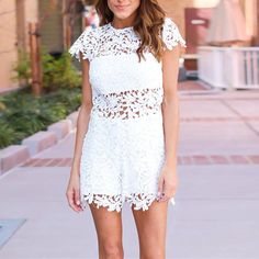 4a54b3c0f2d3 Women Floral Lace Rompers Jumpsuit Summer Style Ladies O-neck Short Sleeve  Crochet Hollow Out Sexy Playsuit Casual Party Overall
