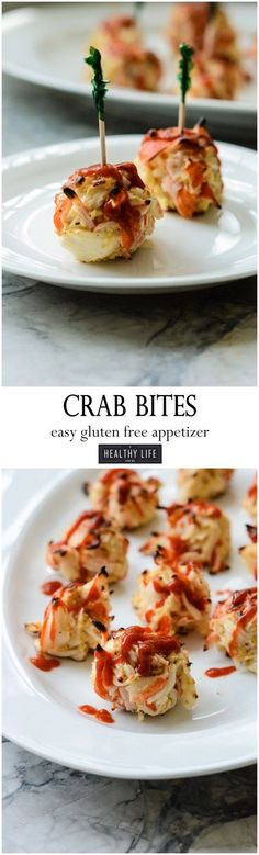 Spicy Crab Bites - an inexpensive, quick and easy recipe that are perfect to serve at your next party or barbecue. These gluten free bites only take 20 minutes to prepare : ahealthylifeforme Finger Food Appetizers, Healthy Appetizers, Appetizers For Party, Appetizer Recipes, Crab Meat Appetizers, Inexpensive Appetizers, Crab Appetizer, Fish Recipes, Seafood Recipes