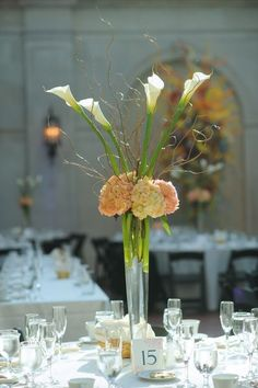 Orange and coral hydrangea mounded on top of a pilsner vase with full size white calla lilies and curly willow branches extending up and out Art Deco Centerpiece, Centerpiece Rentals, Orchid Centerpieces, Hurricane Centerpiece, Centrepieces, Wedding Table Decorations, Wedding Table Settings, Flower Decorations, Wedding Centerpieces