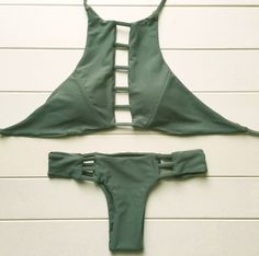 Sexy High Neck Bikini Bandage Swimwear Cut Out Swimsuit Retro Halter Bikini Set Brazilian Printed Summer Beach Suit 20 Item Type: Bikinis SetGender: WomenSuppor Halter Bikini, Bikini Set, Bikini Swimwear, Bikini Tops, Green Bikini, Cheeky Bikini, Bikini Beach, Olive Green Bathing Suit, Bandage