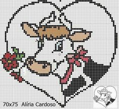 Vaca 10 Cross Stitch Cow, Cross Stitch Kitchen, Cross Stitch Bookmarks, Simple Cross Stitch, Cross Stitch Animals, Perler Patterns, Canvas Patterns, Cross Stitch Patterns, Cross Stitching