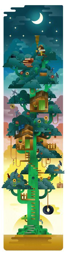 Monkey cactus tree sustainable life on Illustration Served