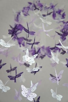 Butterfly Mobile - Purple, lavender, and white nursery mobile by pearlescent