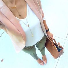 Army green skinny pants, white blouse, blush pink blazer, blush pointy heels.