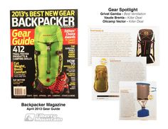 Backpacker Mag Features Grivel Gamba - Vaude Brenta - Olicamp Vector