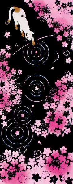 Kenema - Neko mo Hanami (Cherry-blossom viewing) (The dyed Tenugui) Japanese Tradition Cotton Towel (The dyed Tenugui) Tenugui is a Japanese tradi Japanese Patterns, Japanese Prints, Japanese Art, Japanese Culture, Cherry Blossom Wallpaper, Sakura Cherry Blossom, Cherry Blossoms, Origami Patterns, Kawaii Cat