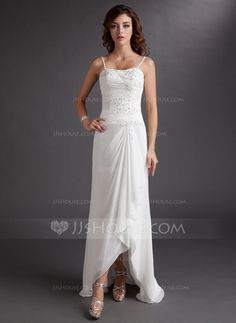 Wedding Dresses - $142.99 - A-Line/Princess Sweetheart Asymmetrical Chiffon Wedding Dress With Ruffle Lace Beadwork Sequins (002012020) http://jjshouse.com/A-Line-Princess-Sweetheart-Asymmetrical-Chiffon-Wedding-Dress-With-Ruffle-Lace-Beadwork-Sequins-002012020-g12020?ver=n1ug2t&ves=vnlx6