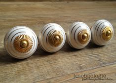 Gold and White Stripe Ceramic Knob - Art Deco Gatsby Drawer Pull