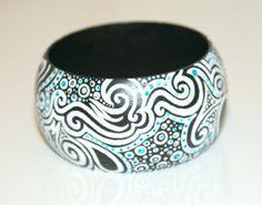 Blackwhite wooden bracelet hand decorated unique by KitKitShop, $19.50